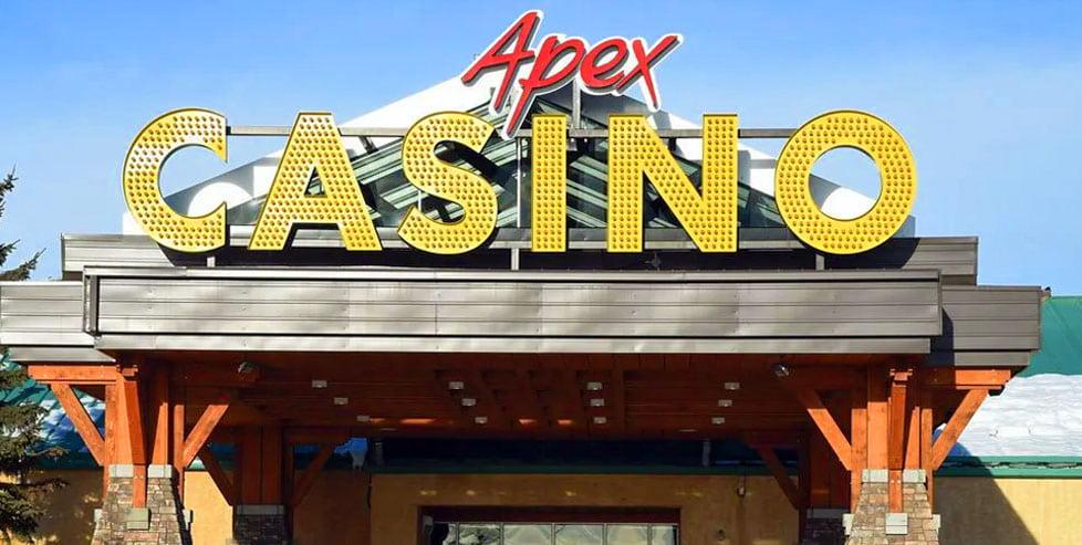 Apex Casino sign above the front door