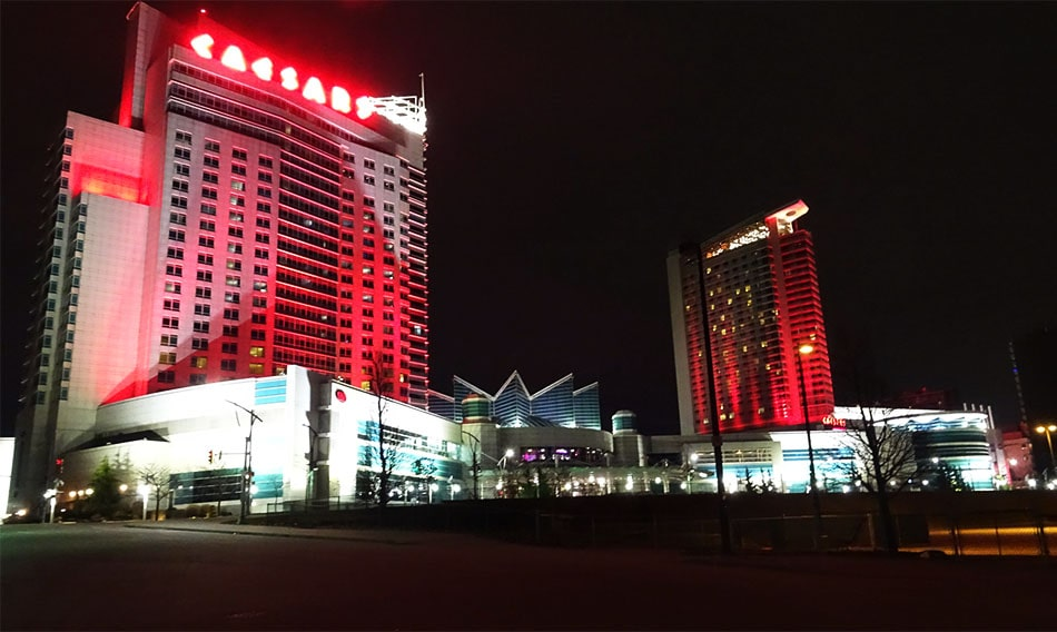 The view of the Caesars Windsor Casino from the road