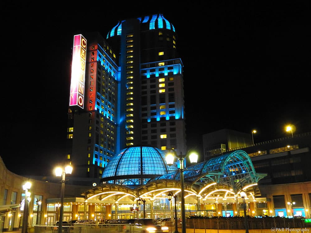 Casino Niagara is lighted by blue lamps